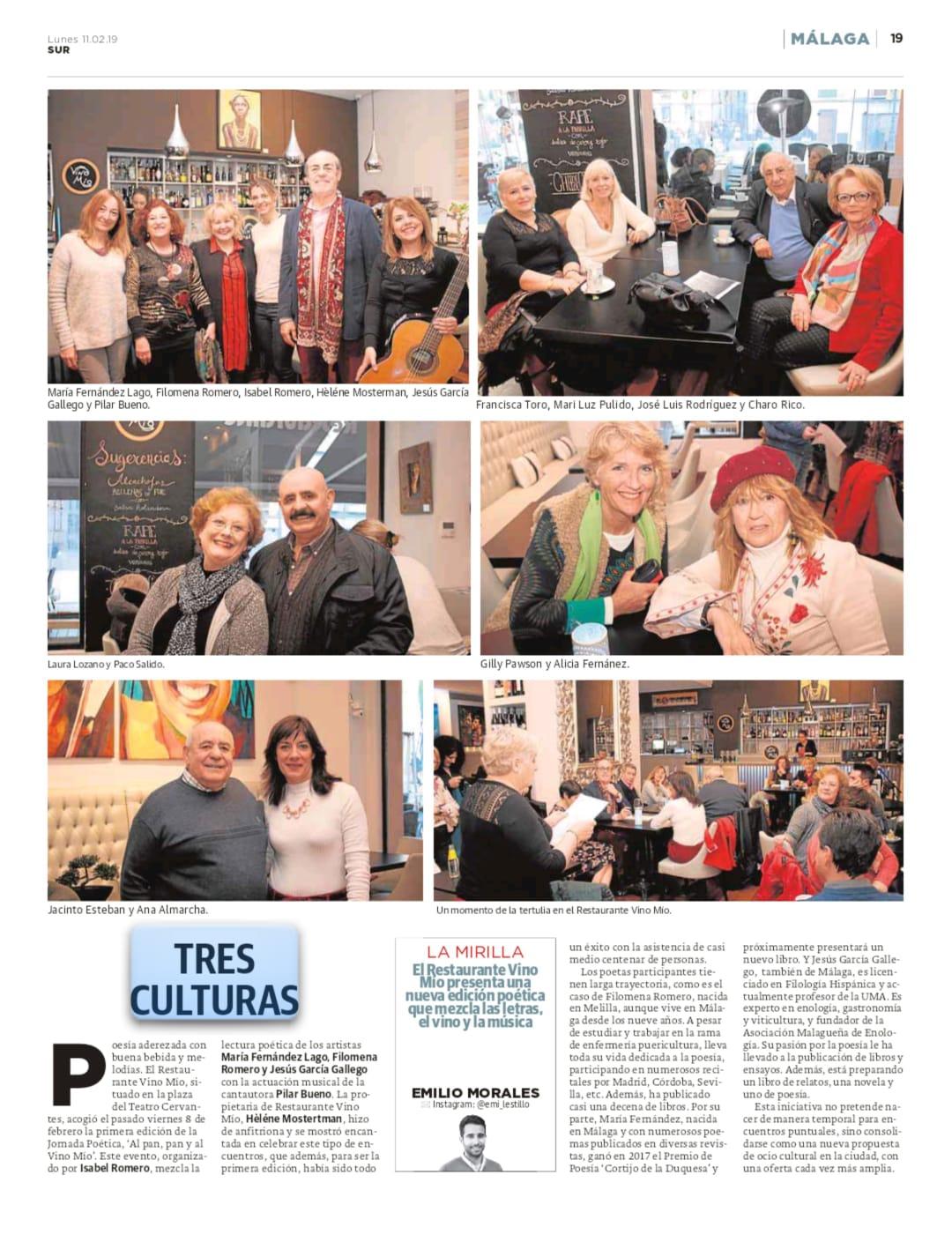 Articulo en el Diario Sur del 11/02/19 : Al Pan,Pan y al Vino Mio